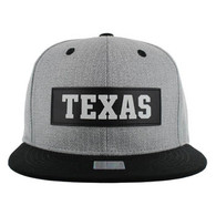 SM007 Texas Cotton Snapback Cap Hat (Grey & Black)