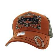 VM502 Cowboy Velcro Cap (Texas Orange & Hunting Camo)