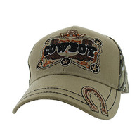 VM502 Cowboy Velcro Cap (Khaki & Hunting Camo)