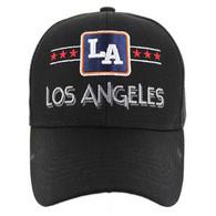 VM068 Los Angeles Baseball Cap Hat (Solid Black)