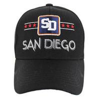 VM068 San Diego Baseball Cap Hat (Solid Black)
