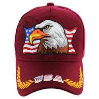 VM140 American USA Eagle Velcro Cap (Solid Burgundy)