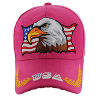 VM140 American USA Eagle Velcro Cap (Solid Hot Pink)