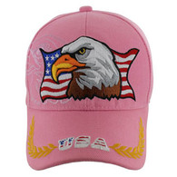 VM140 American USA Eagle Velcro Cap (Solid Light Pink)