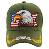 VM140 American USA Eagle Velcro Cap (Solid Olive)