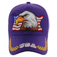 VM140 American USA Eagle Velcro Cap (Solid Purple)