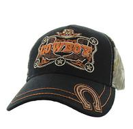 VM502 Cowboy Velcro Cap (Black & Hunting Camo)