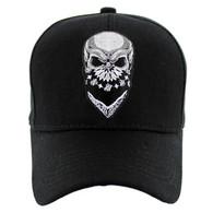VM587 Skull Velcro Cap (Solid Black)