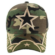 VM421 Big Star Velcro Cap (Military Camo & Olive)