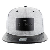 SM007 King Snapback (Grey & Black) - Black Metal