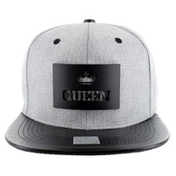 SM007 Queen Snapback (Grey & Black) - Black Metal