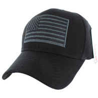 VM367 American Tactical USA Flag Velcro Cap (Solid Black)