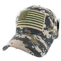 VM367 American Tactical USA Flag Velcro Cap (Solid Digital Camo)