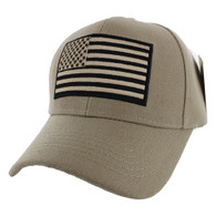VM367 American Tactical USA Flag Velcro Cap (Solid Khaki)