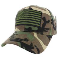 VM367 American Tactical USA Flag Velcro Cap (Solid Military Camo)