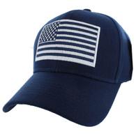 VM367 American Tactical USA Flag Velcro Cap (Solid Navy)