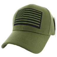 VM367 American Tactical USA Flag Velcro Cap (Solid Olive)