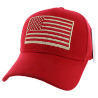 VM367 American Tactical USA Flag Velcro Cap (Solid Red)