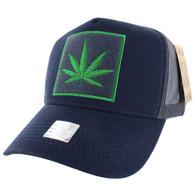 VM918 Marijuana Mesh Trucker Baseball Cap (Navy & Grey)