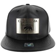 SM045 California Republic PU Snapback (Solid Black) - Silver Metal