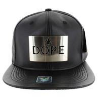 SM045 Dope Marijuana PU Snapback (Solid Black) - Silver Metal