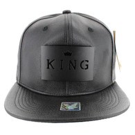 SM045 King PU Snapback (Solid Black) - Black Metal