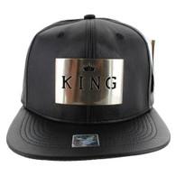 SM045 King PU Snapback (Solid Black) - Silver Metal