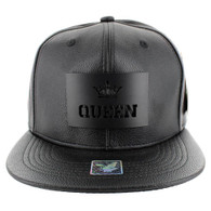 SM045 Queen PU Snapback (Solid Black) - Black Metal