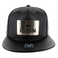 SM045 Queen PU Snapback (Solid Black) - Silver Metal