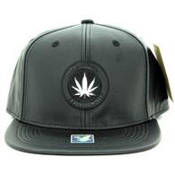 SM790 Marijuana PU Snapback (Solid Black)