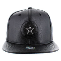SM790 Star PU Snapback (Black & Black)