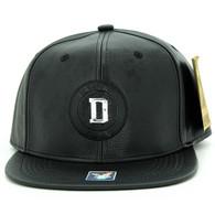 SM790 Dallas PU Snapback Cap (Black & Black)