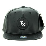 SM790 Texas PU Snapback Cap Hat (Black & Black)