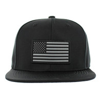 SM100 USA Flag Snapback Cap (Solid Black)