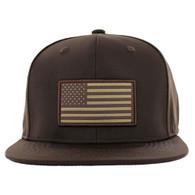 SM100 USA Flag Snapback Cap (Solid Brown)