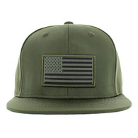SM100 USA Flag Snapback Cap (Solid Olive)