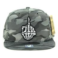 SM612 Finger Snapback Cap (Solid Military Camo Grey)