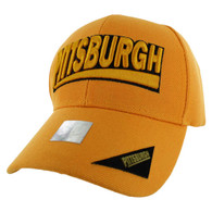 VM050 Pittsburgh Baseball Cap Hat (Solid Gold)