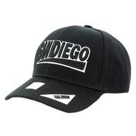 VM050 San Diego Baseball Cap Hat (Solid Black)