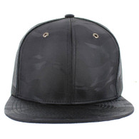SP100 Plain Blank Snapback Cap (Solid Black)