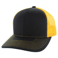 K815 Blank Cotton Classic Mesh Trucker Cap (Black & Gold)