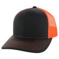 SP815 Blank Cotton Classic Mesh Trucker Cap (Black & Orange)