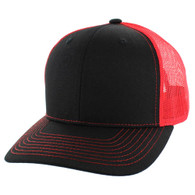 K815 Blank Cotton Classic Mesh Trucker Cap (Black & Red)