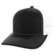 SP815 Blank Cotton Classic Mesh Trucker Cap (Black & White)
