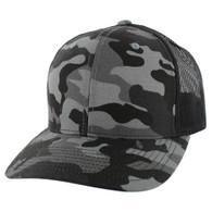 K815 Blank Cotton Classic Mesh Trucker Cap (Black Military Camo & Black)