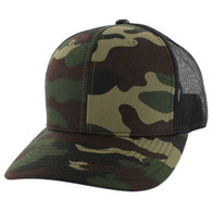 SP815 Blank Cotton Classic Mesh Trucker Cap (Military Camo & Black)