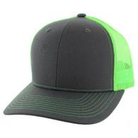 SP815 Blank Cotton Classic Mesh Trucker Cap (Dark Grey & Neon Green)