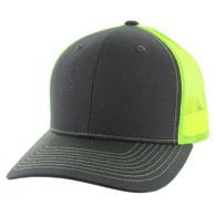 K815 Blank Cotton Classic Mesh Trucker Cap (Charcoal & Neon Yellow)