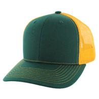 K815 Blank Cotton Classic Mesh Trucker Cap (Dark Green & Gold)