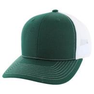 K815 Blank Cotton Classic Mesh Trucker Cap (Dark Green & White)